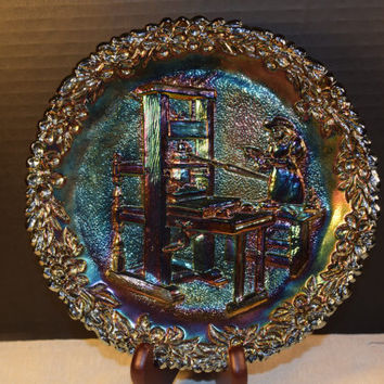 Fenton Iridescent Carnival Glass Collector Plate 1971 Printing Press Craftsmen Series Vintage Fenton Amethyst Plate Colonial America