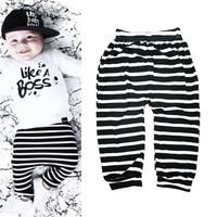 Children Clothing Sets Autumn Newborn Infant Long Sleeve Baby Boy Letters Printing T-shirt + Stripe Pants Kids Clothes