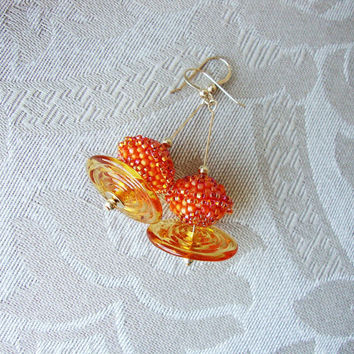 Nectarine Spiral Beaded Earrings Glass Disk Gold Filled Accents