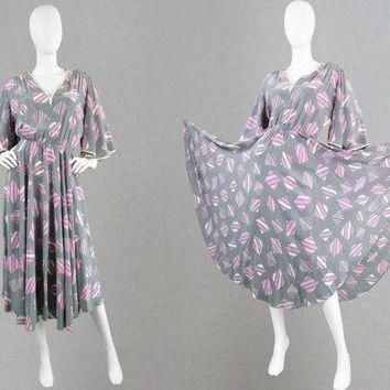 ONETOW vintage balenciaga dress 80s silk dress full sweep dress angel sleeve dress blo