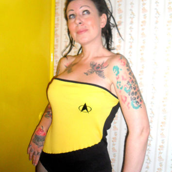 Star Trek Bodysuit Medium Captain Kirk Playsuit Halloween Costume Sci-Fi Nerd Science Fiction Space Geek Romper