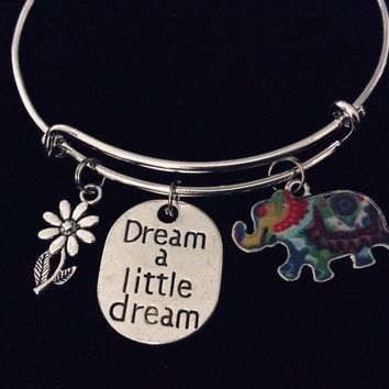 Dream a Little Dream Tie Dyed Elephant Jewelry Expandable Charm Bracelet Adjustable Silver Bangle One Size Fits All Gift