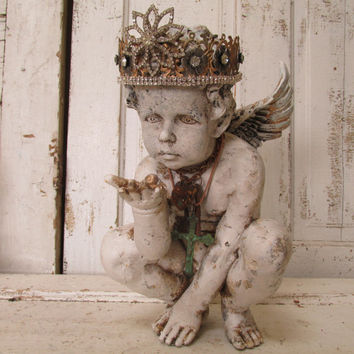 Distressed Cherub statue with ornate handmade crown hand painted French Nordic inspired angel figure with aged patina anita spero