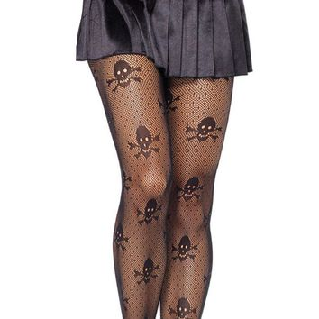 Fishnet Tights Women Sheer Intimate Net Skull Stretch Pantyhose Stockings High Waist Tights Black Underwear