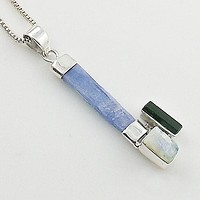 Kyanite Rough Crystal, Moonstone Rough & Green Tourmaline Crystal Sterling Silver Pendant