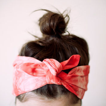 cotton fabric, dyed light pink & coral red headband, tie dye