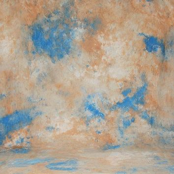 Printed Muslin Abstract Tie Dye Blue Coral Beige Contrast Backdrop - 111-22