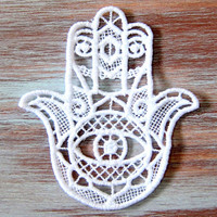 Evil Eye Ornament-Hamsa Lace Medallion-Burgundy