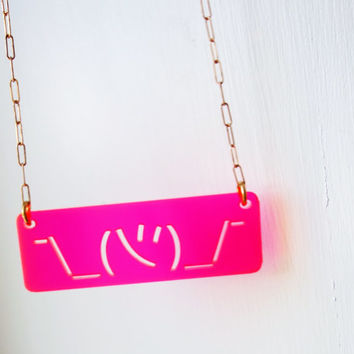 Shruggie Twitter Fluorescent Pink Acrylic Necklace