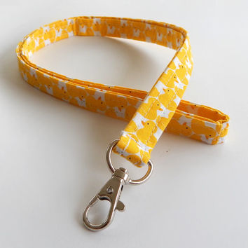 Rubber Duck Lanyard / Rubber Ducky / Duckie Keychain / Yellow Lanyard / Key Lanyard / ID Badge Holder / Fabric Lanyard / Cute Lanyard