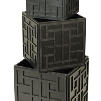 3 Nesting Boxes - Black Patterned