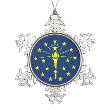 Snowflake Ornament with Indiana Flag