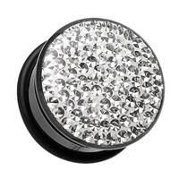 Brilliant Sparkles Black Body Single Flared Ear Gauge Plug