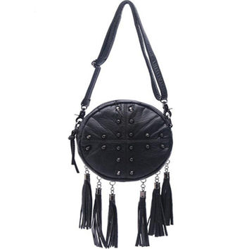 Black Round Rivet Hem Tassel Shoulder Bag