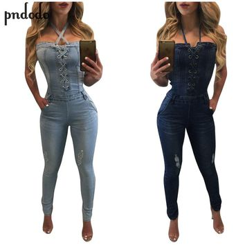 Pndodo Fashion Blue Denim Jumpsuit Off Shoulder Bodysuit Women Rompers Backless Sleeveless Sexy Jeans Jumpsuit Macacao Feminino