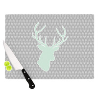 "Pellerina Design ""Winter Deer"" Gray Green Cutting Board"