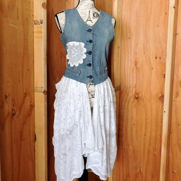 Long denim lace Festival vest / size S / M / upcycled bohemian jean lace top / romantic boho lace and denim vest or top