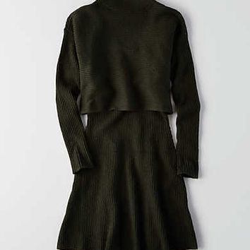 AEO Tiered Sweater Dress, Olive