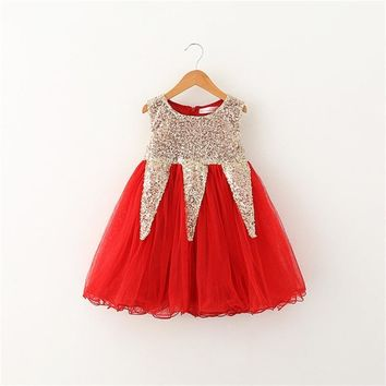 Summer Brand Girl Clothes 2017 Gold Sequined Pageant Party Princess Tutu Birthday Dresses For Girls Kids Clothes Toddler Costume