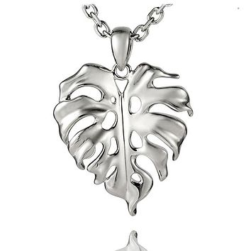 Sterling Silver Alamea Hawaii Hawaiian Monstera Pendant Necklace (Medium)