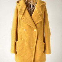 women's Cashmere Coat Double Breasted Fitted Wool Coat jacket yellow  S-XL