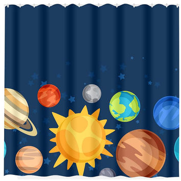 Planet SHOWER CURTAIN Outerspace Bathroom Custom MONOGRAM Floral Personalized Boy Bathroom Decor Bath Beach Towel Plush Bath Mat Made in Usa