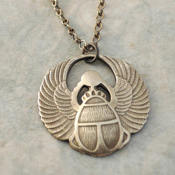 Vintage Necklace - Egyptian Jewelry - Scarab Necklace - Vintage Brass jewelry - handmade jewelry