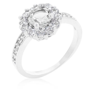 Belle Clear Round Halo Engagement Ring | 2.2ct | Cubic Zirconia | Silver