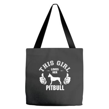 This Girl Loves Pitbull Tote Bags