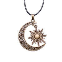 Crescent Moon And Sun Necklace