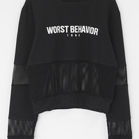 Cupshe Worst Behavior Letter Mesh Crop Top