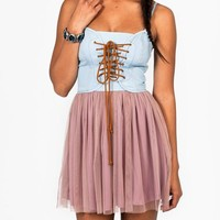 lace-up-denim-tulle-dress BLACKBLACK MAUVELTBLE TAUPELTBLE - GoJane.com