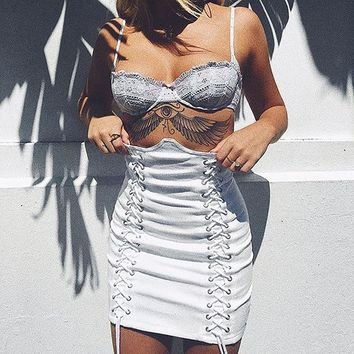 Laced High Waist Skirt