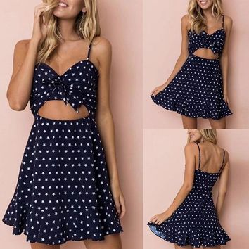 Dark Blue Women Sexy  Knot Front Star Print Mini Dress