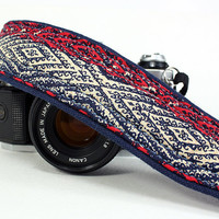 OOAK Camera Strap,Tribal, Native 2, dSLR or SLR, Red, Navy Blue, Ikat, Quick Connect
