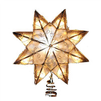 8-Point Capiz Star Christmas Tree Topper, 10 LED, Gold, 8-Inch