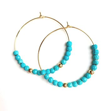 Turquoise Beaded Hoop Earrings - Small