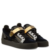 Giuseppe Zanotti Gz Tylor Dark Blue Velvet Low-top Sneaker
