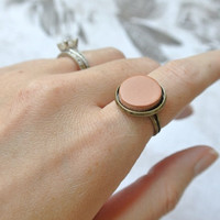 Terracotta Clay Diffuser Ring - Essential Oils - Antique Brass Adjustable small Round Terra Cotta