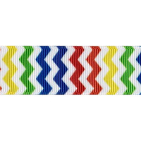 "Grosgrain Ribbon, 7/8"" Chevron Grosgrain Ribbon--Rainbow,Red, Green, Blue, Yellow, Green, Orange,  sold by the yard, craft supply"