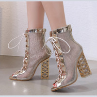 The new hot - selling crystal chunky boots with mesh hollowed-out high heels for women with fishmouth
