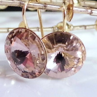 Rivoli Earrings - Swarovski Rivoli Earrings - Gold Earrings