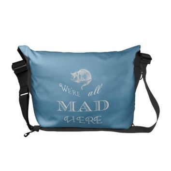 Cheshire Cat Mad Blue Messenger Bag