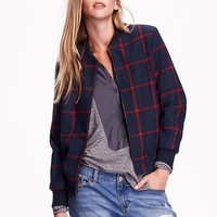 Old Navy Womens Plaid Wool Blend Bomber Jacket