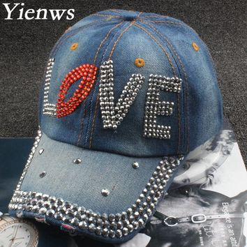 Yienws Diamond Painting Jeans Baseball Cap For Woman Western Cowboy Baseball Cap Hat Love Brim Curved Summer Cap YH279
