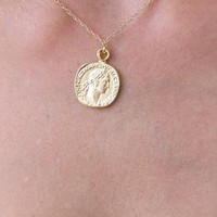 Gold Coin Necklace, Gold Pendant Necklace, Coin Jewelry from HLcollection