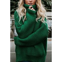 Turtleneck Knitted Pullover   Loose Sweater