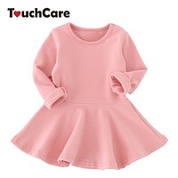 Spring Autumn Candy Color Cotton Baby Girl Dresses Long Sleeve