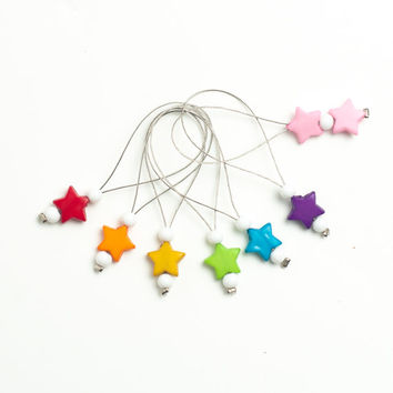 Snag free stitch markers, set of  14. Rainbow colors  beads.  Huge set, two sizes.