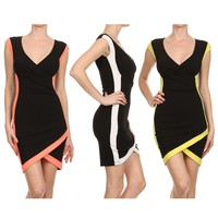 Sexy Colorblock Stretch V-Neck Cap Sleeve Bodycon Wrapped Asymmetric Hem Mini Dress